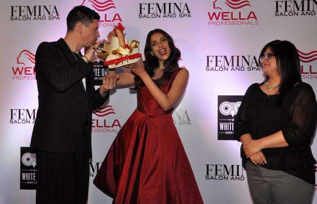 Stan Darren Newton , Aditi Rao Hydari & Tanya Chaitanya (Editor, Femina) launching at the Femina Salon & Spa magazine cover at the White Owl Lounge