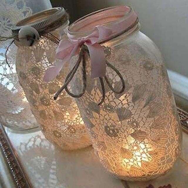 DIY Diwali lantern - Doily Embellished Jar Lamp