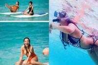 Malaika Arora Khan sizzles in bikini on the beaches of Maldives, does yoga with son