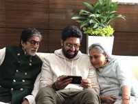 Abhishek Bachchan posted this charming candid picture with parents Amitabh and Jaya Bachchan
