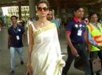 Kangana Ranaut looks refreshing in hand-woven saree