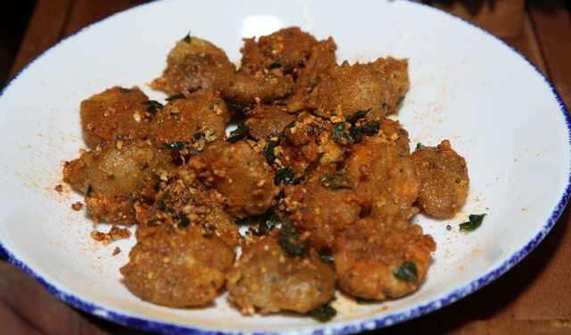 Tempura gun powder baby potates with spicy 65