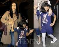 Aaradhya strikes a pose at Mumbai airport en route to Cannes