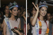 Miss World Manushi Chhillar Arrives At Mumbai Airport