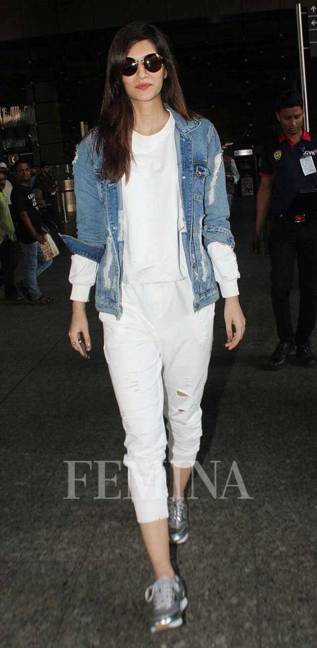 Kriti Sanon in a denim jacket.