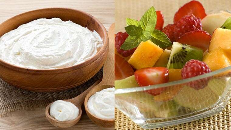 Yoghurt and fresh fruits