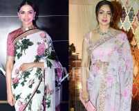 These celebs are obsessed with floral saris