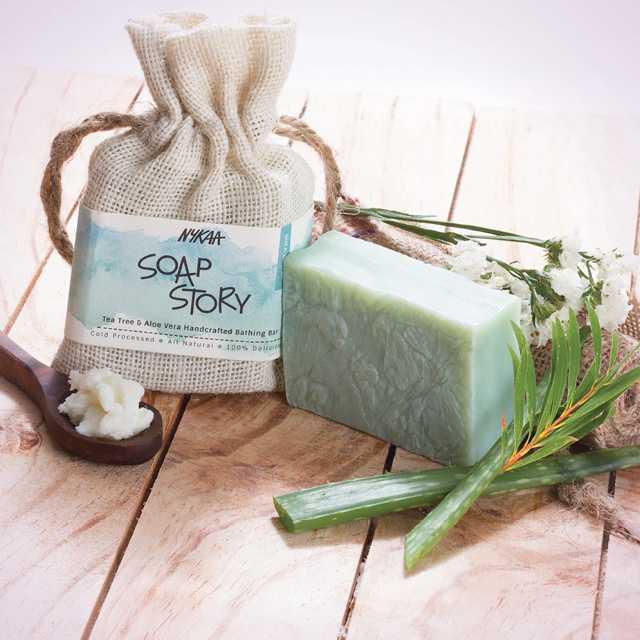 Nykaa Soap Story Tea Tree & Aloe Vera Handcrafted Bathing Bar
