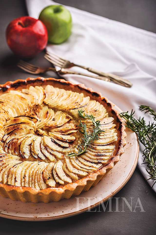 Rosemary and apple tart