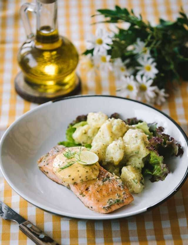 Seared salmon in Tabasco butter