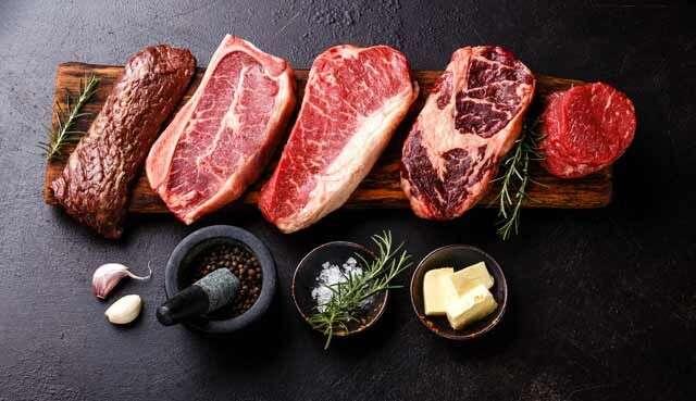 Variety of Raw Black Angus Prime meat steaks Machete