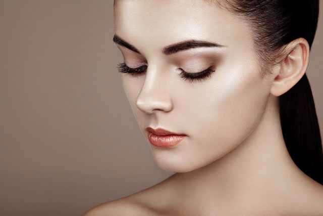 Eyeshadow, eyeliner, then mascara