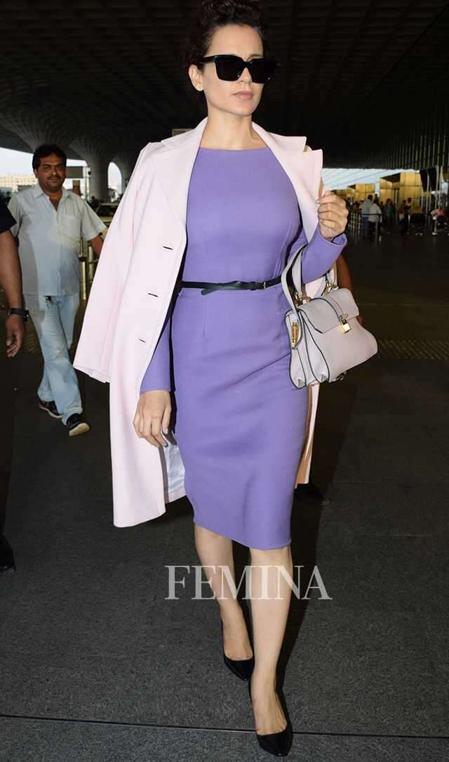 Kangana Ranaut in Dior dress and Prada coat