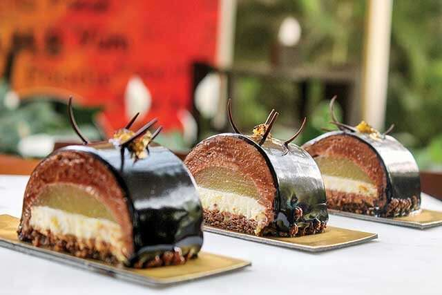 Basil and Pineapple Chocolate Mousse Cake