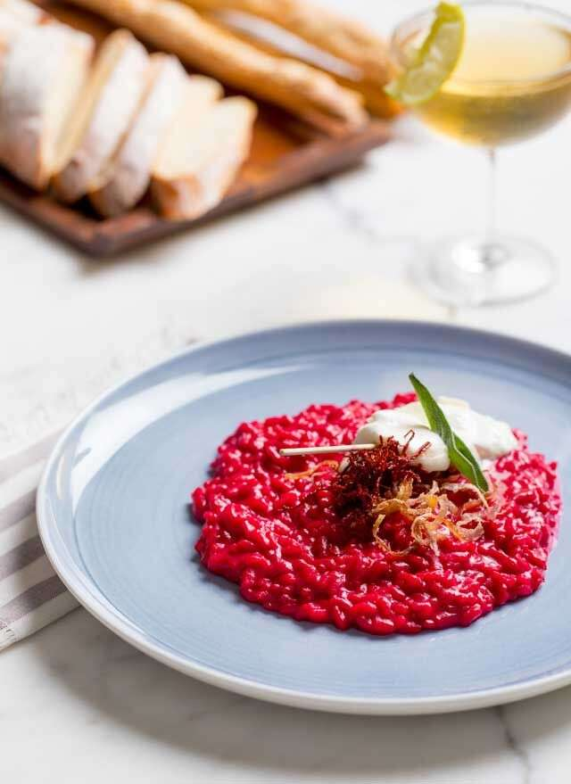 Risotto al beetroot Italian rice with beetroot & goat cheese