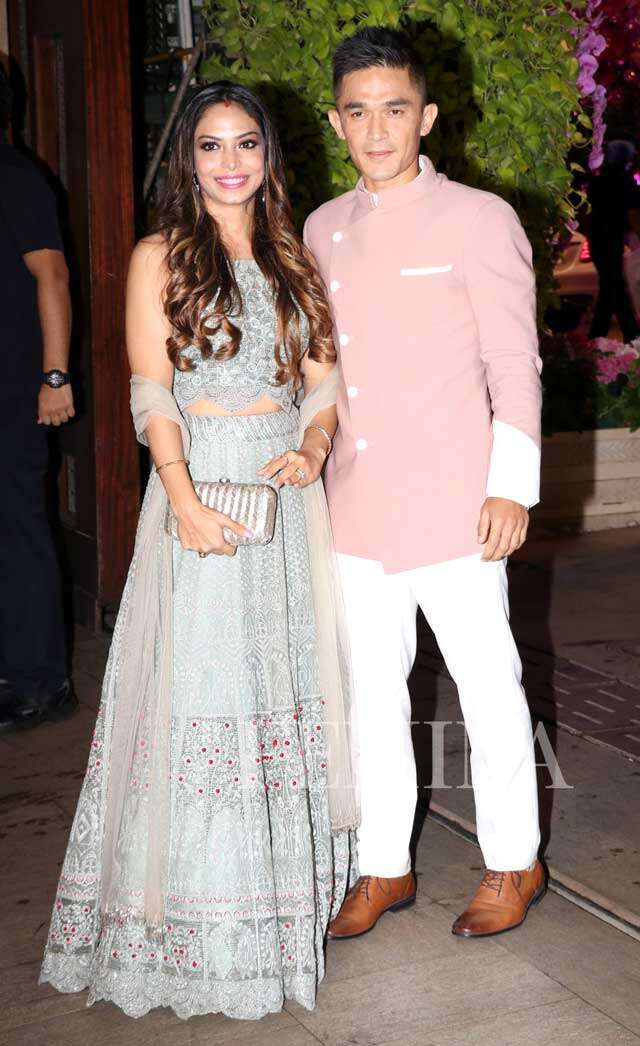 Sunil Chhetri with wife