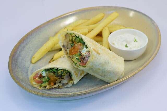 Veg souvlaki and feta wrap