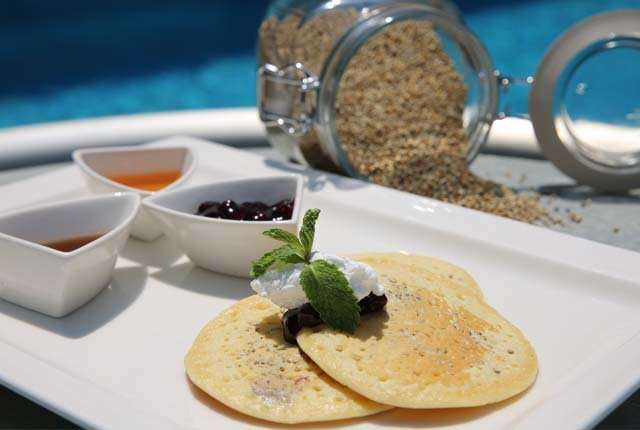 Bajra pancake with maple syrup