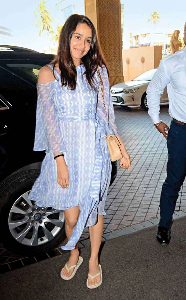 Shraddha Kapoor wearing bell of the ball sleeves