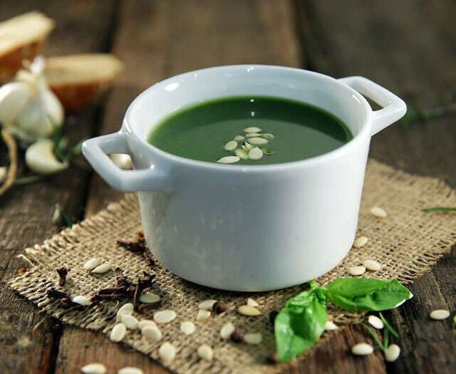 Spinach & melon seed soup
