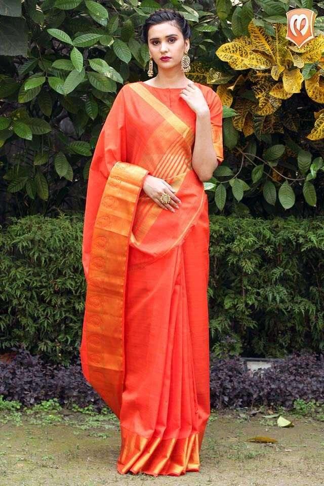 Solid orange sari
