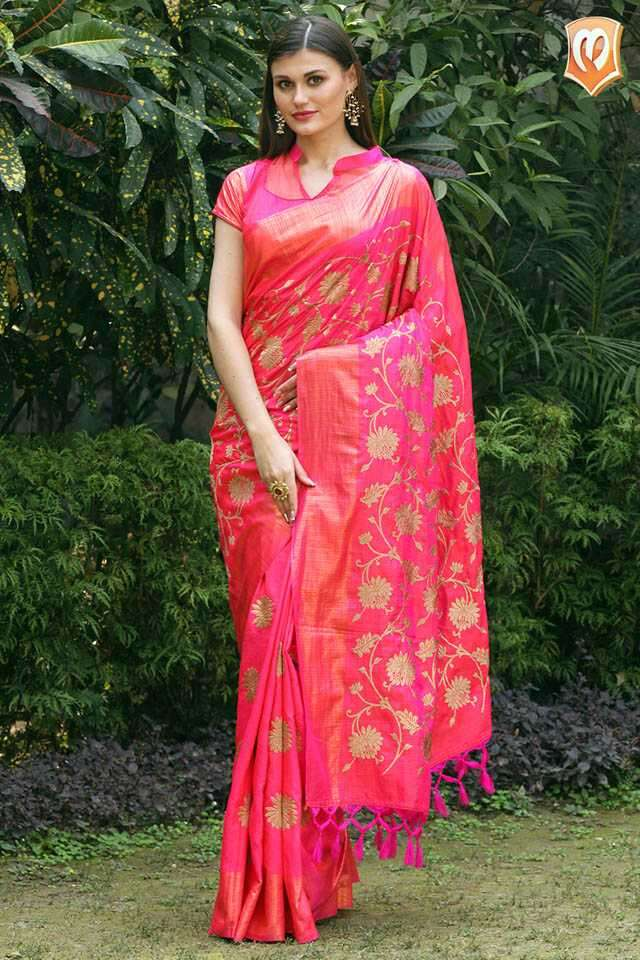 Pink sari with golden print