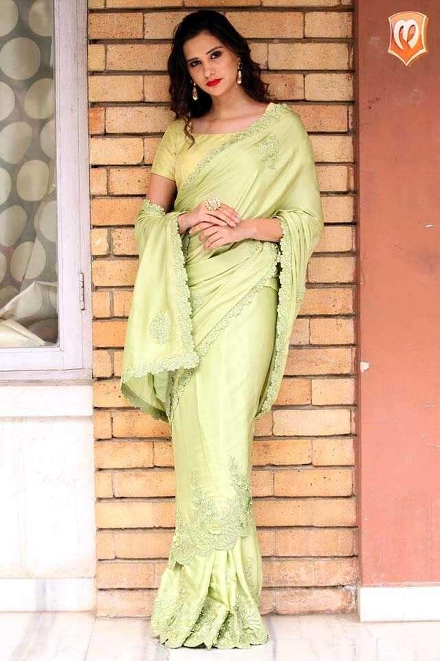 Designer green sari
