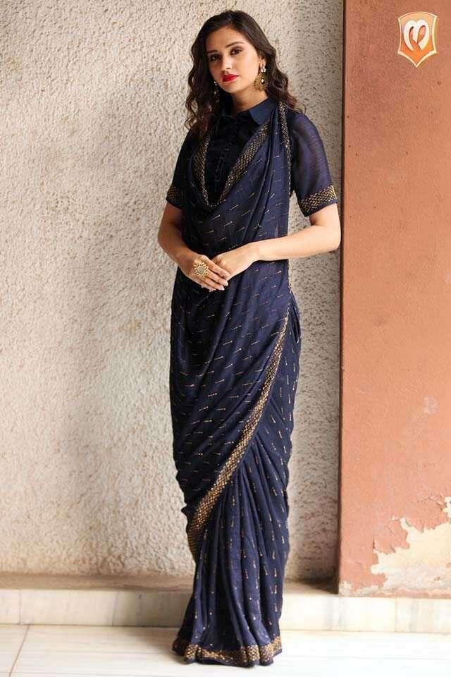 Navy blue sari