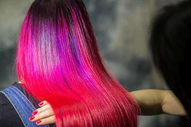 Multi-coloured ombre Hair color