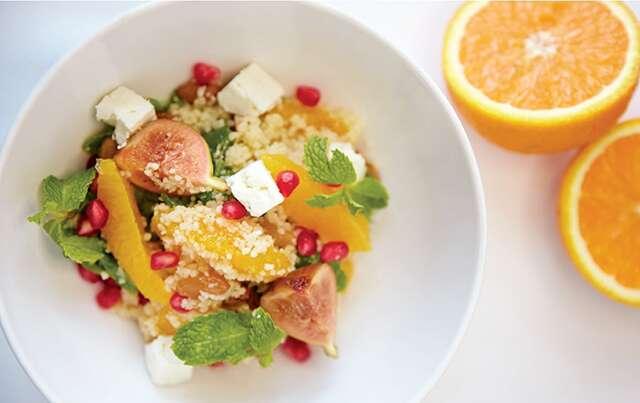 Couscous with apricot, fig, pomegranate & feta salad