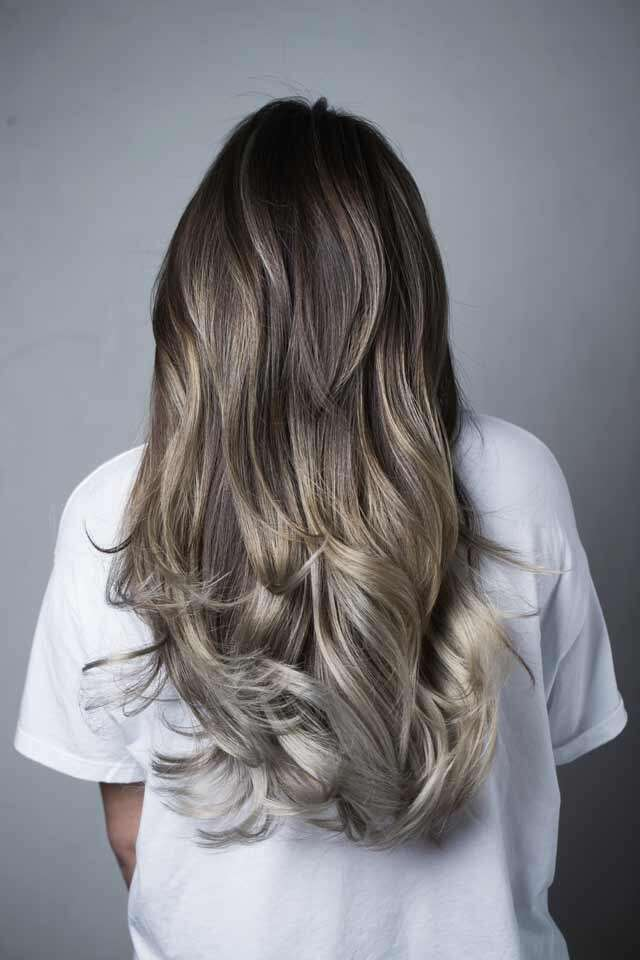 Dark Brown to ash Blond Ombre Hair