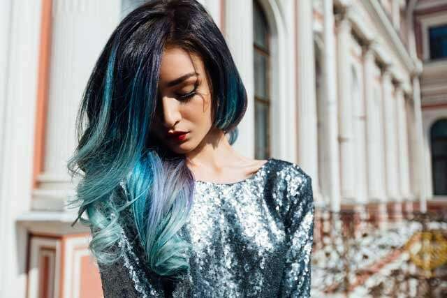 Blue with Frosted Tips Ombre Hair