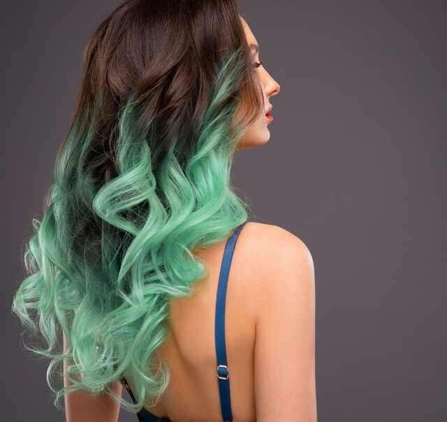 Black to Mint Green Ombre Hair