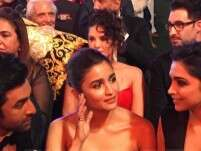 What are Alia Bhatt, Ranbir Kapoor and Deepika Padukone discussing?