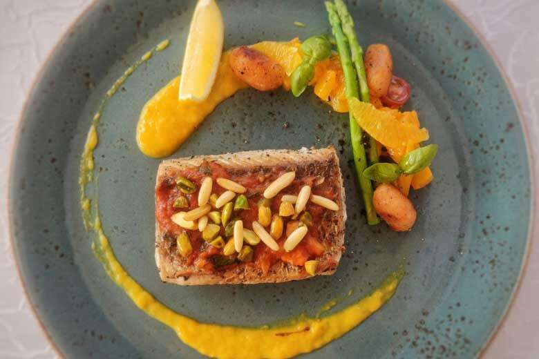 Grilled Sea Bass with Pickled Pumpkin Puree and Toasted Nuts.jpg