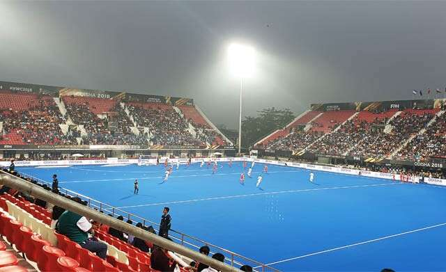 A World Cup Hockey match in progress at the sprawling Kalinga Stadium