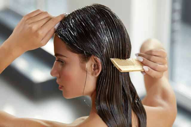 woman hair massage