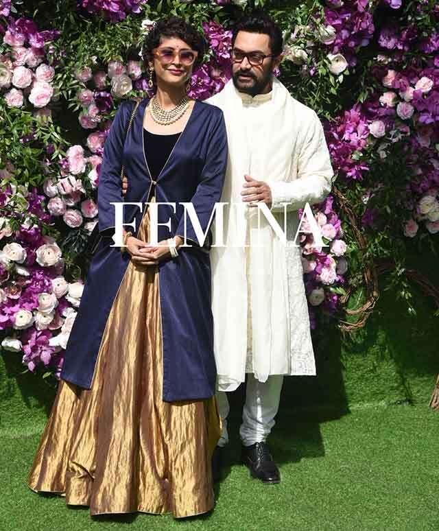 Aamir & Kiran at Ambani Wedding