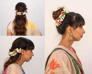 2 glamorous festive hairstyles with gajra