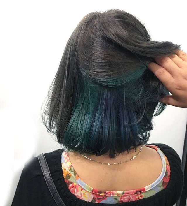 Green & Blue Under Dye For Bob Hairstyles