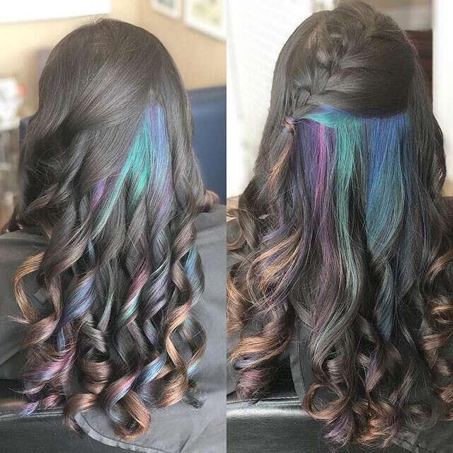 Multi Hued Under Dye Com Blue, Green & Purple