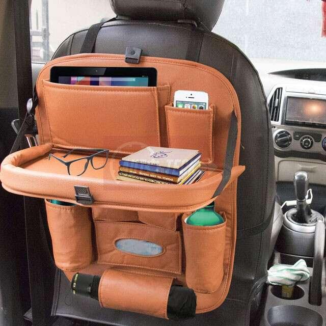 CARMATE Universal PU Leather Car Back Seat Organiser: