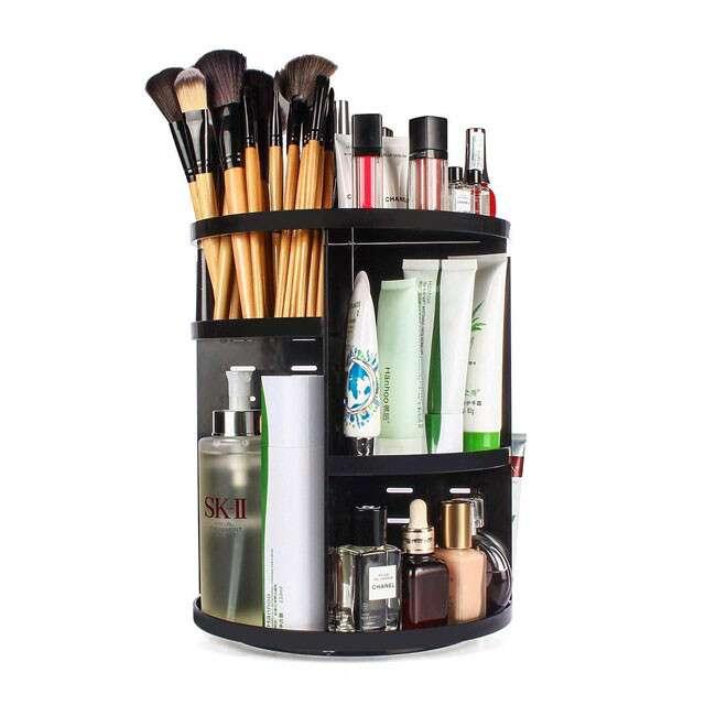 INOVERA (LABEL) Cosmetic Makeup Storage Holder Organizer Adjustable 360 Rotation Box