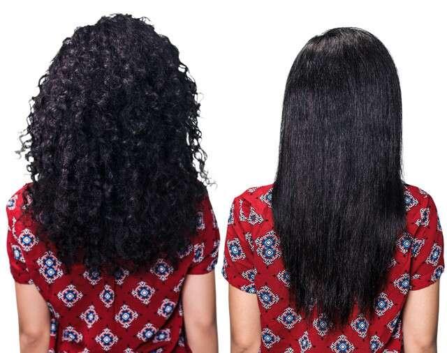 Lissage permanent des cheveux avant après