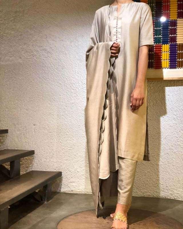 Nude Chanderi silk kurta set by Illalo Bilalo