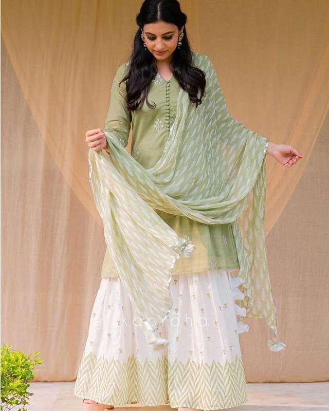 Green Embroidered Sharara Set
