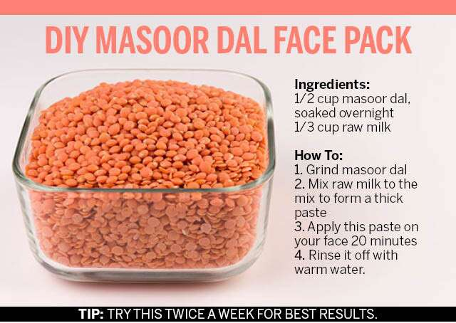 DIY Masoor Dal Face Pack Infographic