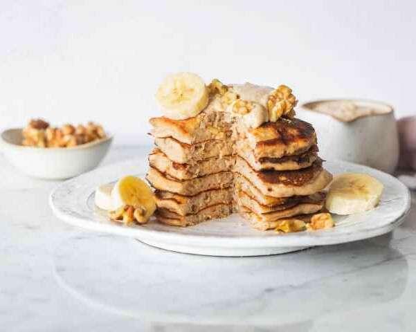 Fluffy Banana walnut Pancakes