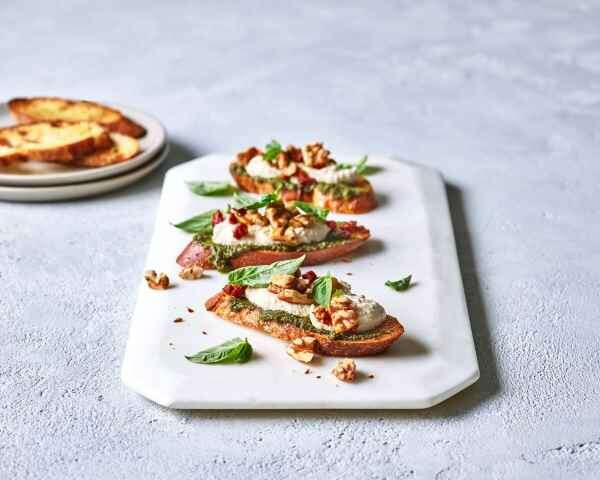 Crostini with Walnut Parmesan Cream