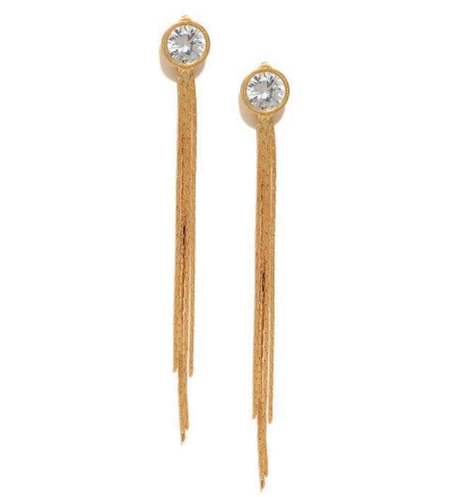 Gold studded tasselled earrings
